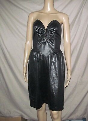 Vtg 80s FREDERICK'S OF HOLLYWOOD Sexy Black Glam Stretchy dress Juniors 9 / 10