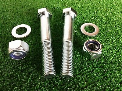 PAIR Tow Bar / Tow Ball Bolts 100mm Long C/w Nyloc Nut & Washer 8.8 HIGH TENSILE