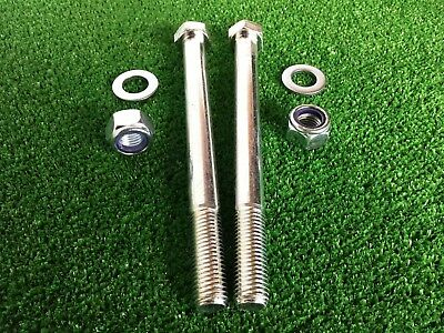 PAIR Tow Bar / Tow Ball Bolts 180mm Long C/w Nyloc Nuts & Washers 8.8 Tensile
