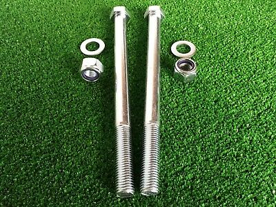 PAIR Tow Bar / Tow Ball Bolts 220mm Long C/w Nyloc Nuts & Washers 8.8 Tensile