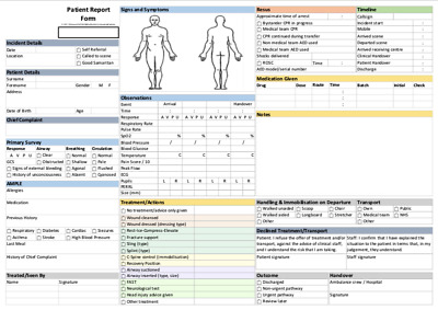 First Aid Ambulance Medic Observation And Report Form A4 PRF