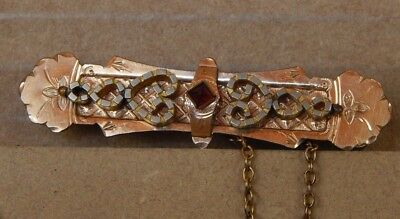 Beautiful Victorian Gold Plated And Red Stone Set bright cut brooch