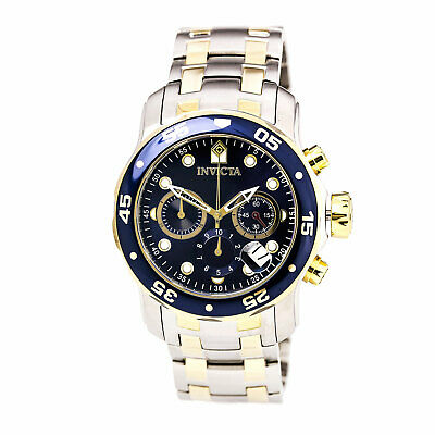 Invicta Men's Watch Pro Diver Chronograph Blue and Gold Tone Dial Bracelet 0077