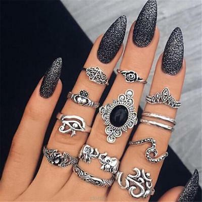 Women Vintage Bohemian Crystal Black Retro Silver Finger Ring Jewelry Set 6L
