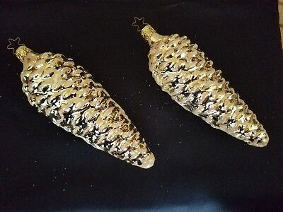 SET OF 2 GOLD GLASS PINE CONE CHRISTMAS ORNAMENTS PURCHASED IN 1990's