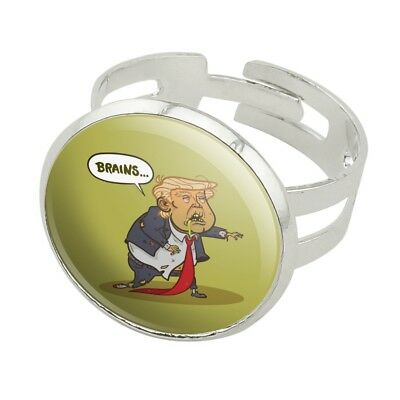 Donald Trump Undead Zombie Halloween Funny Silver Plated Adjustable Novelty Ring