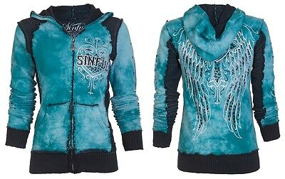 SINFUL by AFFLICTION Womens Hoodie Sweatshirt ZIP UP Jacket BLITZKRIEG Wings $74