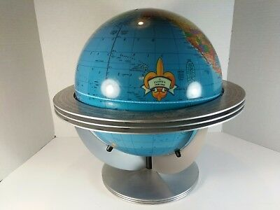 George F Cram Co. World Globe with Atomic Metal Cradle Stand Classica U.S.A.
