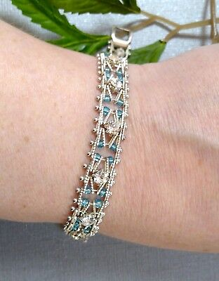 Vintage / Vtg Style 18ct White Gold Plated Bracelet - Clear Stones & Blue Beads