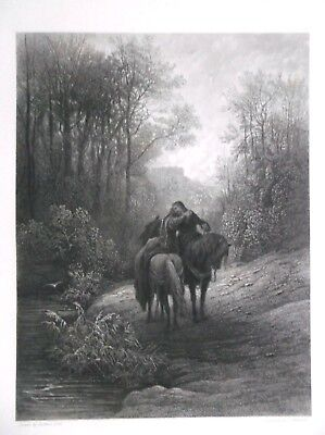 1867 steel engraving GUSTAVE DORE  THE PARTING