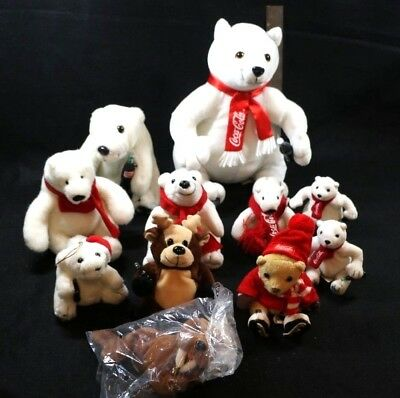 Rare Coca-Cola Polar Bear LOT Ornament Walrus, Reindeer, Ice Skates VTG 1990's +