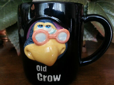 RUSS BERRIE * Pair of 3D Folk Art* Figural OLD CROW Coffee Cups Mugs* Too Cute!