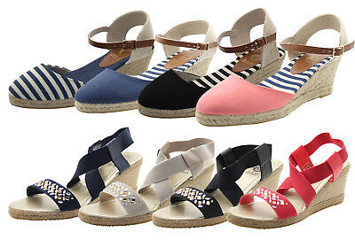 New Ladies Women Summer Wedge Espadrille Mid Heel Close Toe Casual Sandals Shoes