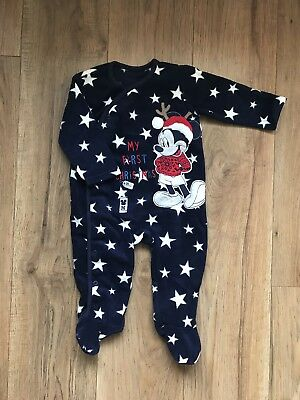 Mickey Mouse My First Christmas Fleece All-in-One - 9-12 M - Excellent Condition