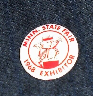 1968 Minnesota State Fair Exhibitor, St Paul Minnesota Vintage Pinback Button