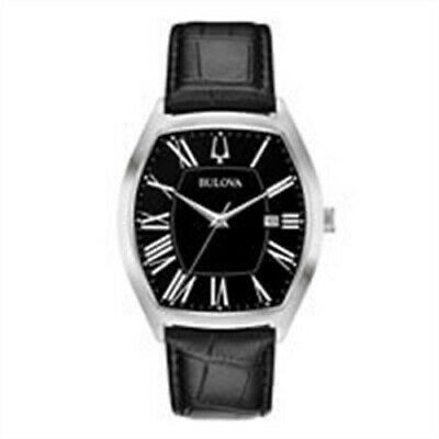 Bulova 96B290 Men's Classic Leather Strap Black Dial Watch