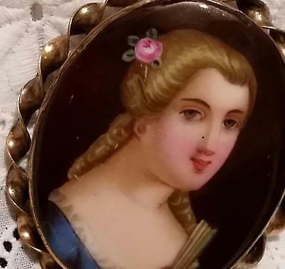 Antique Portrait Brooch Hand Painted Porcelain Cameo Pin Victorian 11 k Gold