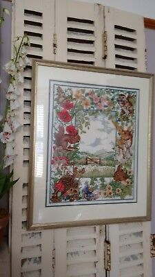 Hand stitched Vintage Countryside Floral Tapestry Needlepoint Picture Framed