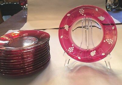 Vintage Ruby Red Dessert Plates Cut Floral Etchings Set Of 12 Great Looking!