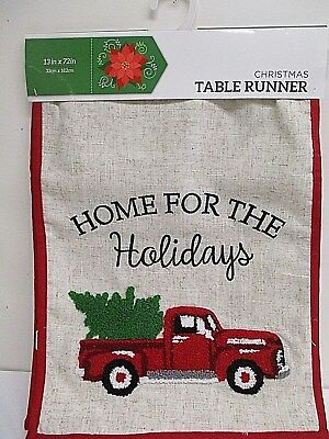 "Christmas Holiday Red TRUCK w/ TREE Table Runner 13"" x 72"""