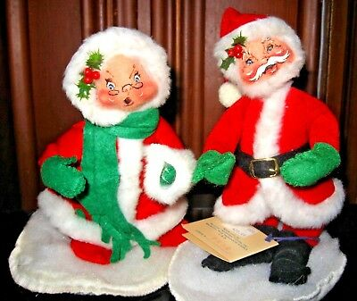 Annalee Mr and Mrs Santa Claus Excellent Condition 1989/1990 (Tag Marked 1963)