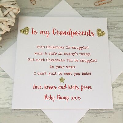 Love from the Baby Bump 1st Christmas Card Poem Grandparents to Be Nanny Grandad