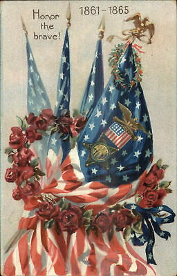 Civil War Honor The Brave American Flags TUCK c1910 Postcard