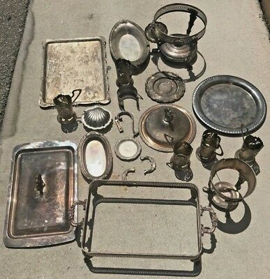 Antique Silver-plate Lot Silver Plated Vintage Plates, ashtray, trays