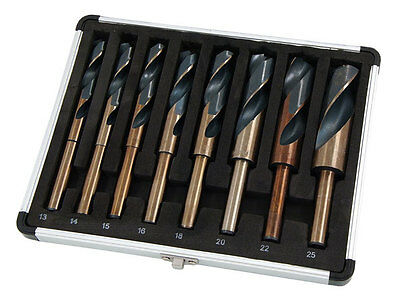 8pc HSS Reduced Shank Blacksmith Drill Bit Set 13mm to 25mm