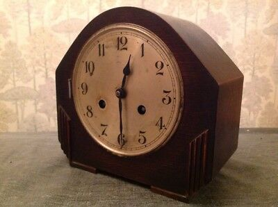 Antique Mantle Clock Deco Style Case Chiming Untested For Repair 22x20x13cm