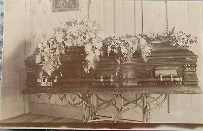 Postcard, closed coffin, flowers, funeral