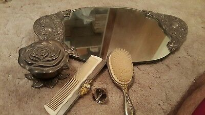 Vintage Silver Plated Hand Mirror Comb Brush set lot antique heavy