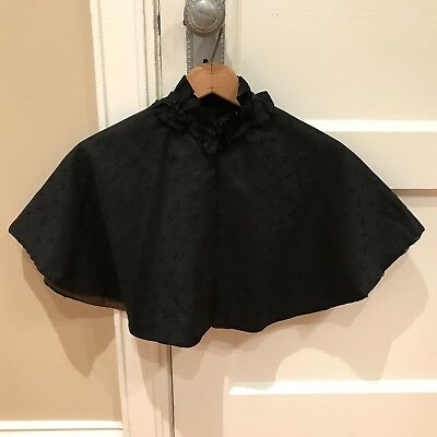 Antique Victorian Women's Black Mourning Capelet with Embroidery & Beaded Detail