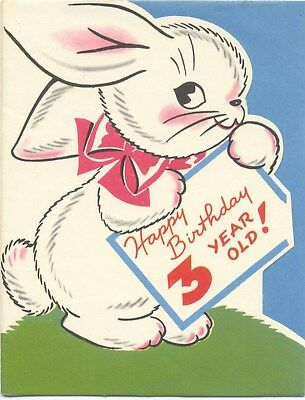 Vintage Hallmark Happy Birthday 3 Year Old Cute Puppies Unused Card