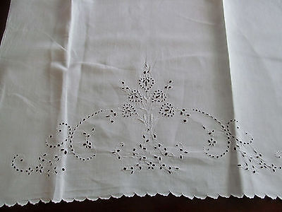 Huge Antique Whitework Guest Show Towel~Handmade Eyelet Cutwork Embroidery