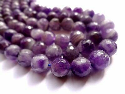 10mm Faceted Round Natural Purple Amethyst Gemstone Beads - Half Strand, 19pcs