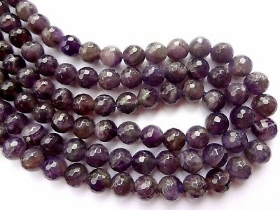 8mm Faceted Round Natural Purple Amethyst Gemstone Beads - Half Strand, 24pcs