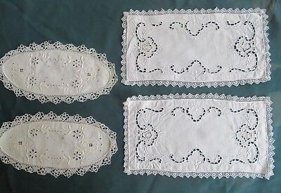 4 white vintage Cotton SANDWICH PLATE / CAKE PLATE DOILIES Handmade, clean