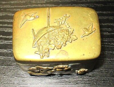 Old Bronze Japanese Mixed Metal Trinket Snuff Jar Box