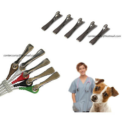 5 pcs Veterinary Alligator Electrode Clip Universal Connection Snap VET EKG/ECG