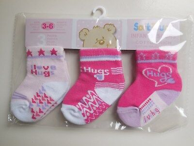 'Soft Touch' Baby Infant Girl Quality Socks 3 Pk * Brand New * Size 00 Fits 3-6M