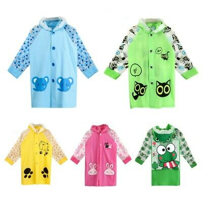 Baby Kids Boys Girls Poncho Kindergarten Cartoon Thicken Waterproof Raincoat AU