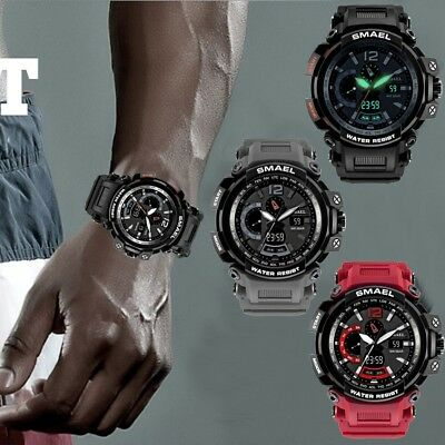 SMAEL Military Watches for Men Chronograph Sport Work Digital Quartz Wrist Watch