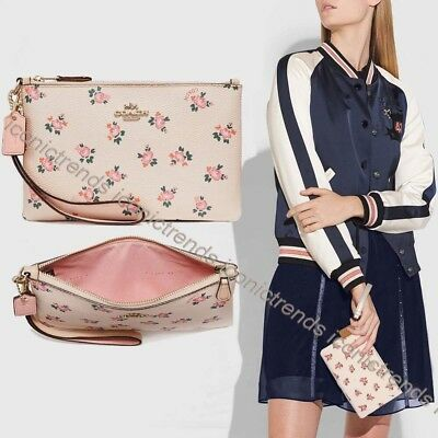 NWT 🌸 Authentic Coach 27094B Small Wristlet Beechwood Floral Bloom Blush Pink