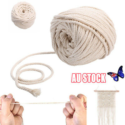 4/5/6mm Macrame Rope Natural Beige Cotton Twisted Cord Artisan Hand Craft Hot AU