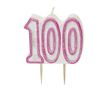 Pink Glitz Number 100 Candle 100th Birthday Cake Candles Party Decorations