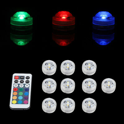 Submersible 10pcs LED Under Water Lights Remote Control Pool Fountain Swim Lamp