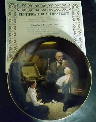 "Norman Rockwell 1983  ""Grandpas Treasure Chest""  Edwin Knowles Collector Plate"