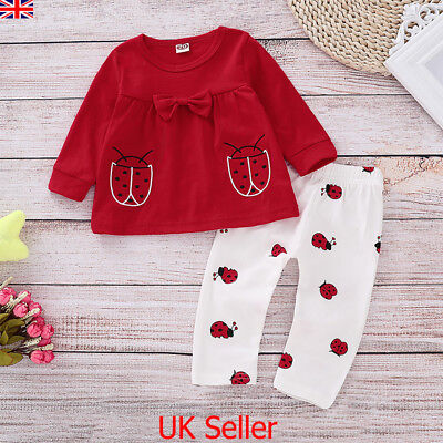 UK Newborn Baby Girls Long Sleeve T Shirt Tops Pants Leggings Outfit Clothes Set