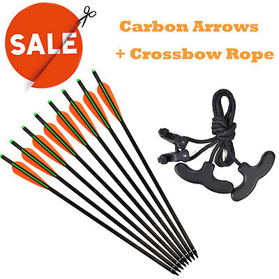 6X Carbon Arrows Crossbow Bolts +1 Cocking Device Rope Archery Outdoor Hunting
